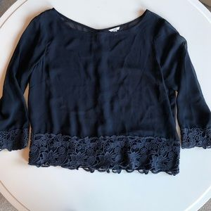 Navy Blue Sheer Lace Blouse